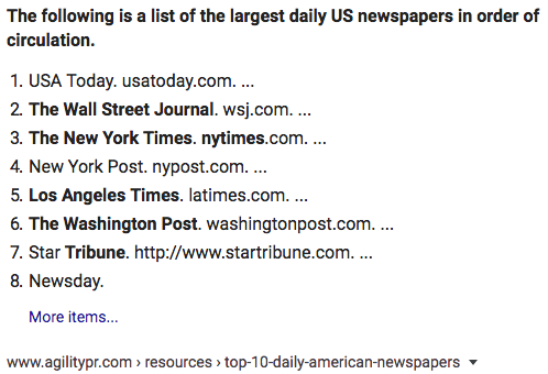 US newspapers by size